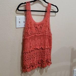 Tops - Coral crochet top